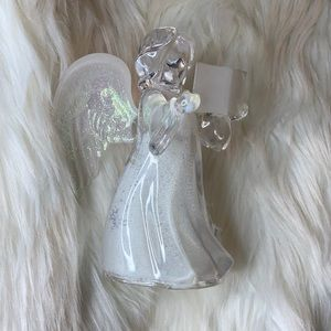 Glass Christmas snow angel caroler singer figurine